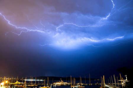 Lightning strike over Adriatic sea near Split Croatia