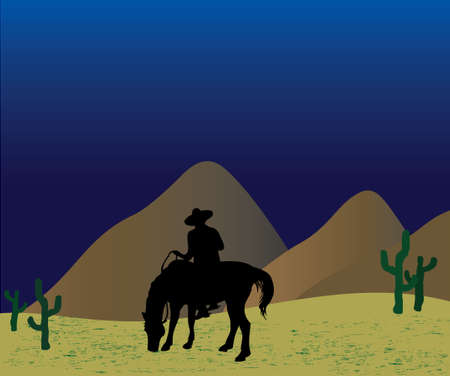 stirrup: Lonely Mexican gangster(bandito) at night on a horse