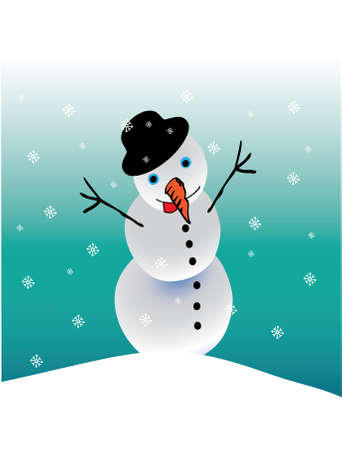 Snowman and snowflakes Stock Vector - 3929640
