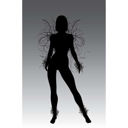 sillhouette: Fantasy flower girl vector sillhouette