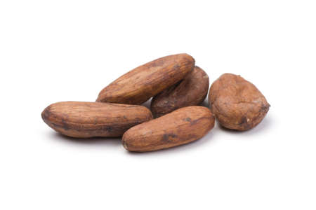 Pile of cocoa beans on white. Shallow depth of field. Stock Photo