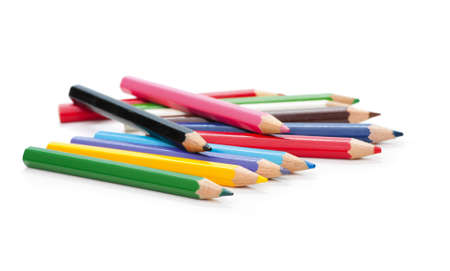An assortment of colored pencils on white background