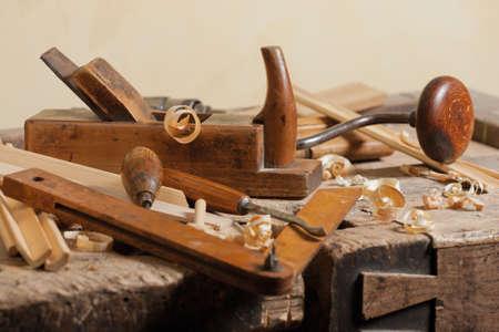 Set of carpenters tool at carpenters workshop
