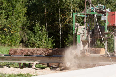 Portable sawmill processing raw timber to planks