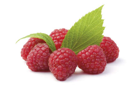 Various fresh organic garden raspberry. Circle composition. Isolated on white background.