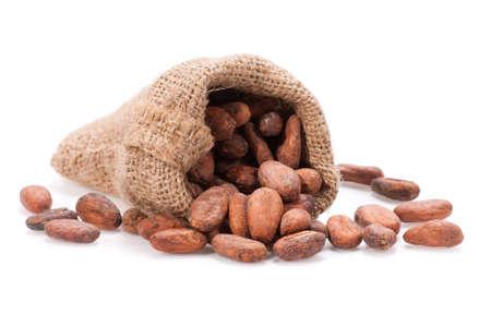 生カカオ豆は、黄麻布の袋にこぼれます。フィールドの浅い深さ。
