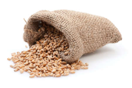 Grains in small burlap sack isolated on white background. Stock Photo - 18332432