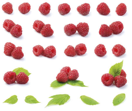 raspberries: Various fresh organic garden raspberries with green leaf isolated on white background