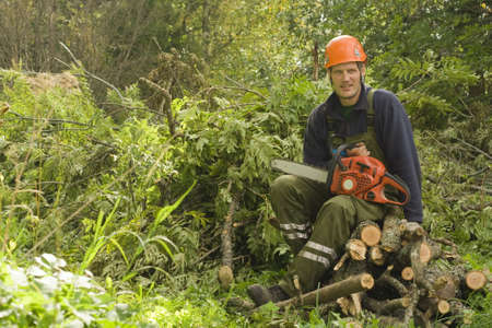woodcutter: Woodcutter resting from work.