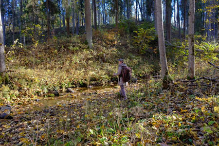 A young man walks in the forest near creek. photo
