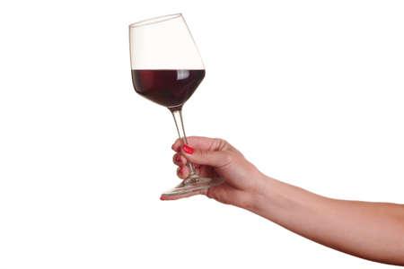 白地に赤のワイングラスを持つ女性の手 写真素材 - 65270967