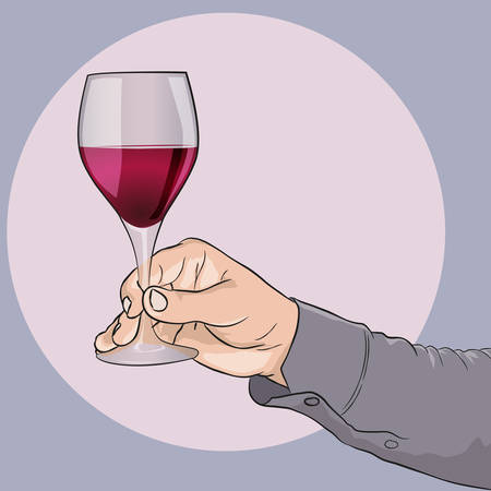 Male hand holding a wine glass. Wine tasting. Vector drawing.