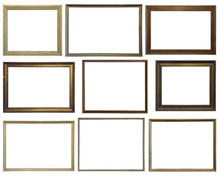Colección de varios marcos de madera vintage sobre fondo blanco.