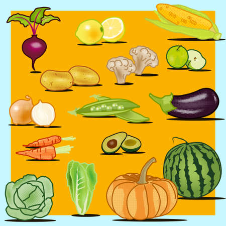 Colorful set of fruits and vegetables. Isolated creative design healthy life objects. Vegetarian and vegan food halftone textured, no gradients