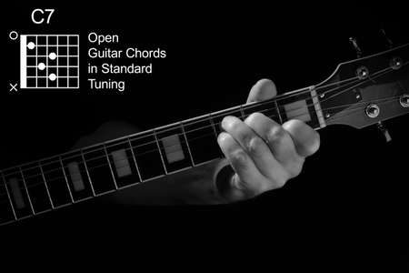 Open Guitar Chords in Standard Tuning guitar tutorial series. Closeup of hand playing C7 chord on guitar, on black background. Black and white photo. Stock Photo