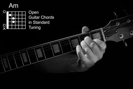 Open Guitar Chords in Standard Tuning guitar tutorial series. Closeup of hand playing Am chord on guitar, on black background. Black and white photo. Stock Photo