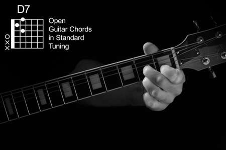 Open Guitar Chords in Standard Tuning guitar tutorial series. Closeup of hand playing D7 chord on guitar, on black background. Black and white photo.