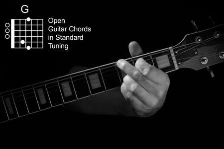 Open Guitar Chords in Standard Tuning guitar tutorial series. Closeup of hand playing G chord on guitar, on black background. Black and white photo.