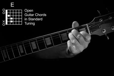Open Guitar Chords in Standard Tuning guitar tutorial series. Closeup of hand playing E chord on guitar, on black background. Black and white photo.