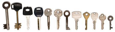 set of different ancient keys isolate