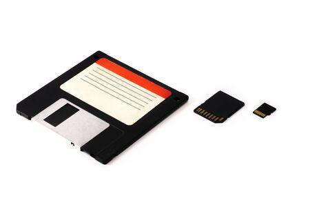 evolution of electronic digital mediaisolated Floppy disk FDD SD microsd
