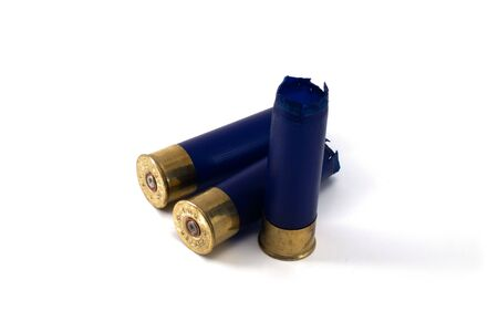 casings shotgun cartridges blue isolated on white background