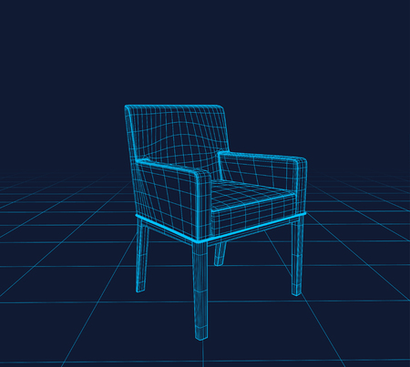 movie film: Chair Vector wireframe, perspective 3d technology vector illustration