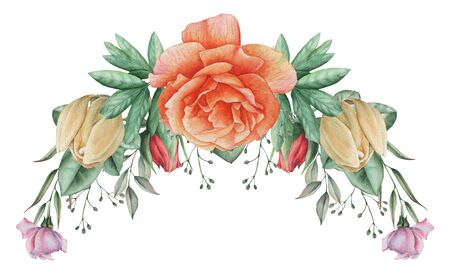 postcard: Hand painted watercolor charming combination of Flowers and Leaves, isolated on white background. Stock Photo