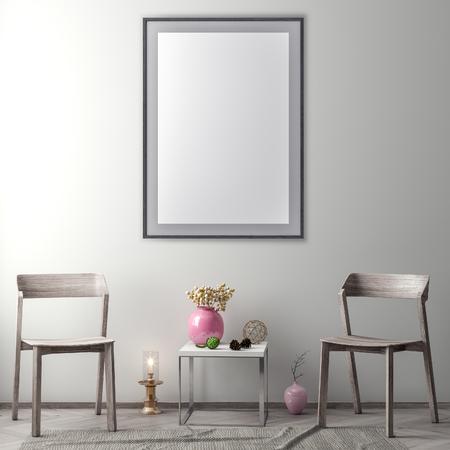 Mock up poster frame in hipster interior background, 3D illustration Stock Photo