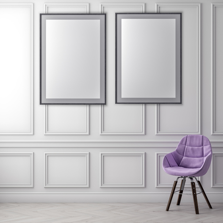 Mock up poster frame in interior background and classic wall, 3D illustration Фото со стока