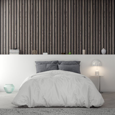 Interior of bedroom with wood planks wall, 3D Rendering
