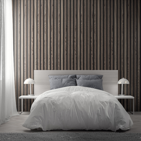 Interior of bedroom with wood planks wall, 3D Rendering. Stockfoto