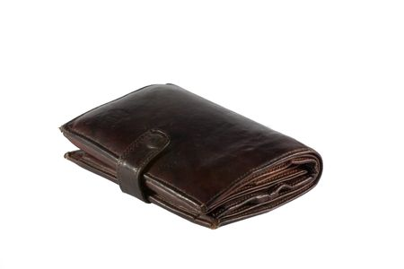 moola: brown leather wallet over white Stock Photo