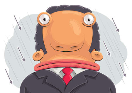 tricky: Illustration of confused sad businessman with big head. Rain of arrows in the background Illustration