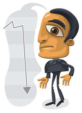 grosse tete: Illustration d'homme d'affaires debout confuse avec la grosse t�te. Fl�che indiquant vers le bas dans le fond