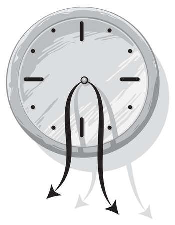 strangeness: Sad hopeless clock with weak hanging pointers Illustration