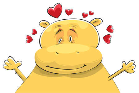 affected: Happy hippopotamus in love. Dreamy look and smile. Hands up ready for hug Illustration