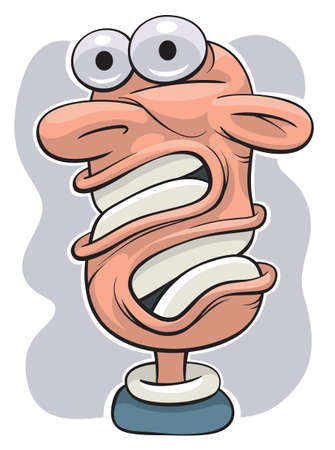 bared teeth: Illustration of a shocked man with twisted head Illustration
