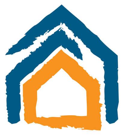 property insurance: Dise�o abstracto que expresa el concepto de seguro, la seguridad. Icono de una casa