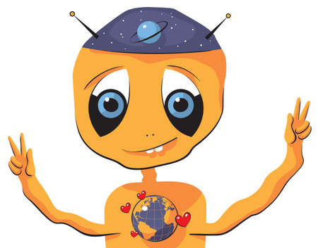 for children toys: Illustration of an Alien expressing love to Earth
