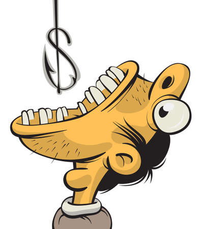 Illustration of a man with wide opened mouth trying to swallow a fishing hook which looks like a dollar sign Illustration
