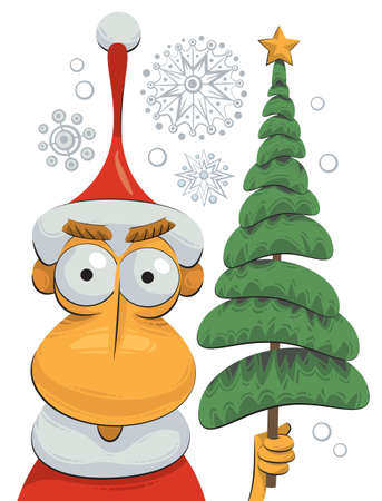 Illustration of Santa Claus holding a Christmas tree in his hand