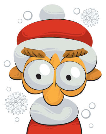 Illustration of little Santa Claus or gnome staring at you Illustration