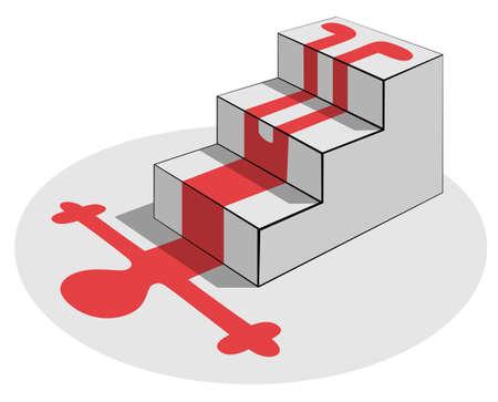 calamiteit: Val van een trap: rood bloed silhouet