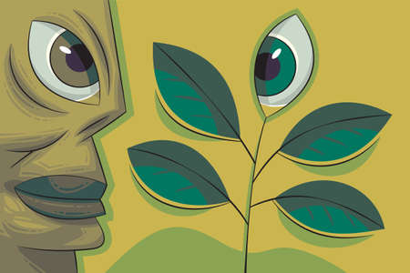 Green human face and plant with an eye looking at each other. Ecology concept Stock Vector - 11270030