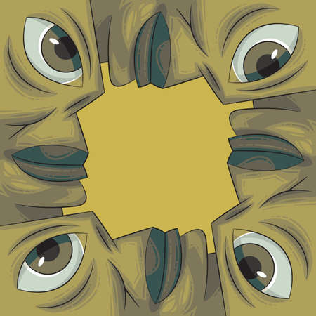 four eyes: Picture frame formed out of four green faces. Ecology theme