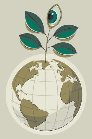 wereldbol groen: Illustratie van een groene en een bol plant met het oog toenemende bovenop Stock Illustratie