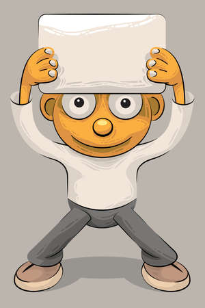 Little boy standing and holding an empty sheet of paper or plate over his head Vector