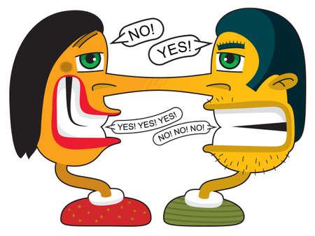 lad: Un par de j�venes confundidos Liars discutiendo. Su nariz larga crecieron juntos