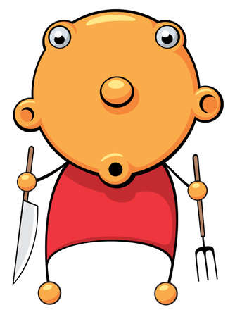 Illustration of a hungry baby with fork and knife in his hands looking for food